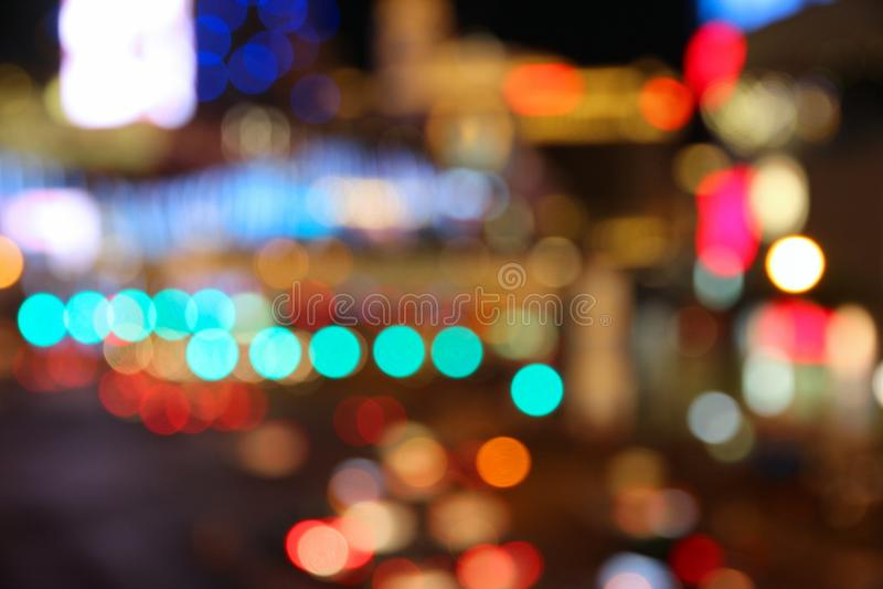Las Vegas night. Las Vegas, Nevada, United States. Defocused city lights - colorful night view royalty free stock photography