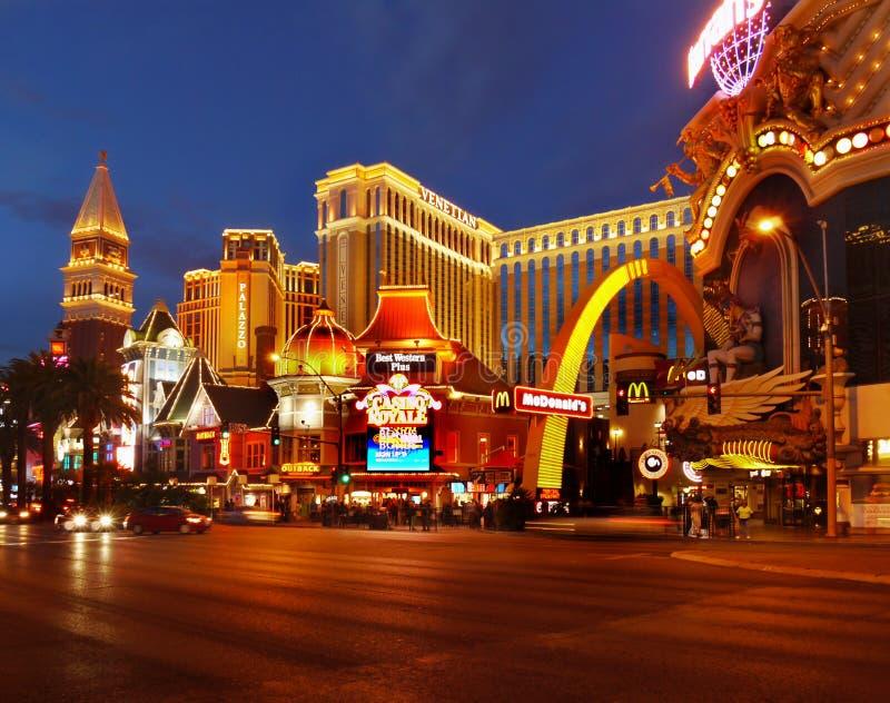 Las Vegas Nightlife. Nightlife in the Las Vegas City. Illuminated Venetian Palace, Nevada royalty free stock photos