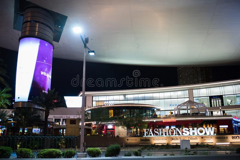 Fashion Show Mall editorial stock image. Image of lights