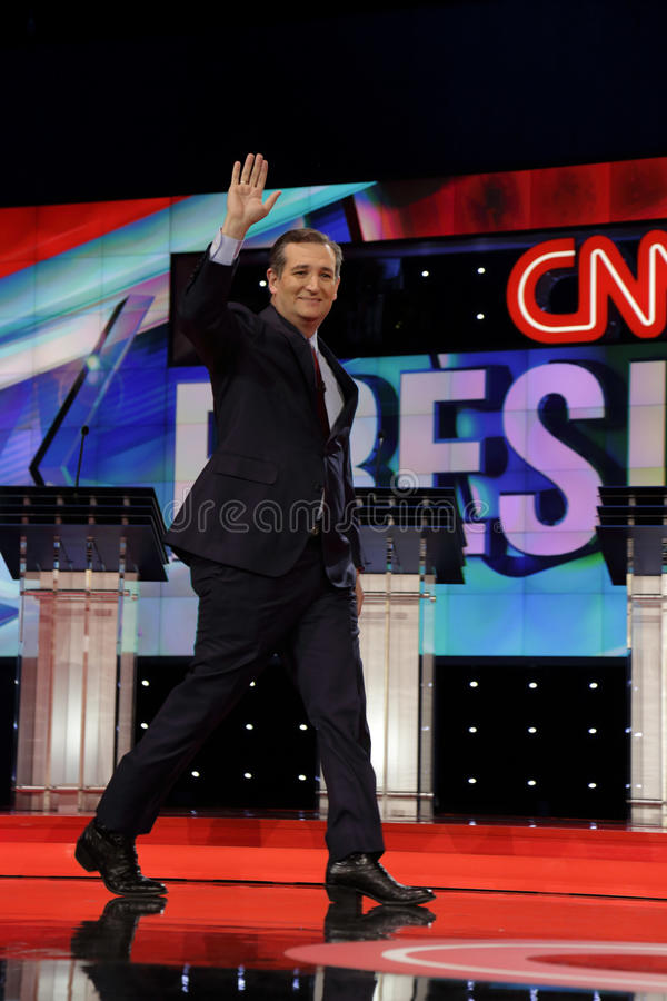 LAS VEGAS, NV, Dec 15, 2015, Senator Ted Cruz, a Republican from Texas and 2016 presidential candidate, walks and waves on stage a royalty free stock photography