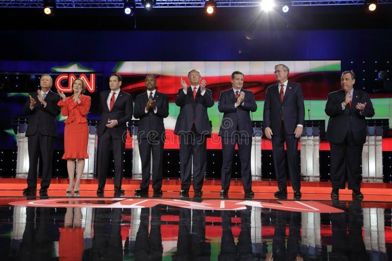 LAS VEGAS NV - DECEMBER 15: Republikanska presidentkandidater (L-R) John Kasich, Carly Fiorina, Sen Marco Rubio Ben Carson, gör royaltyfria foton