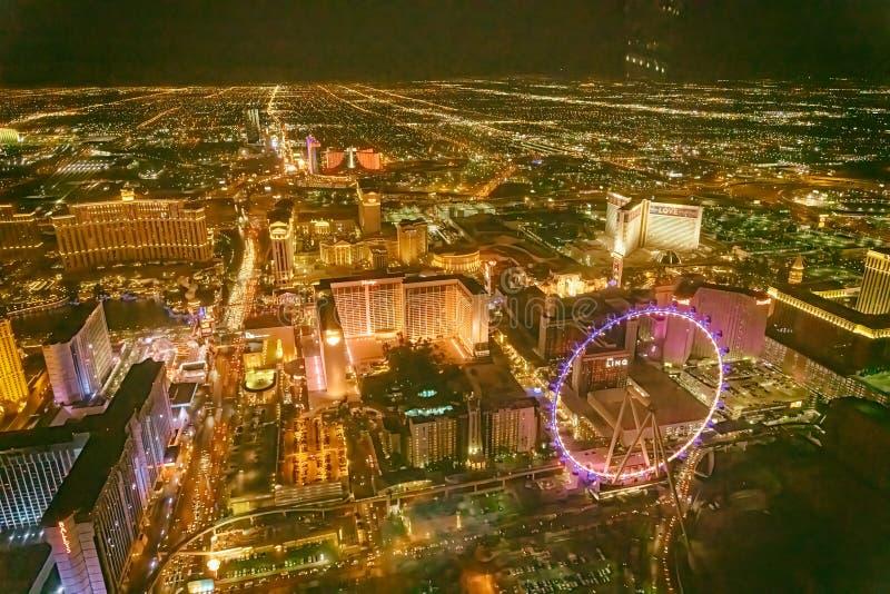 LAS VEGAS, NV - 29 GIUGNO 2018: Vista aerea di notte dei casin? principali della citt? Las Vegas ? conosciuto come Sin City, citt immagine stock libera da diritti