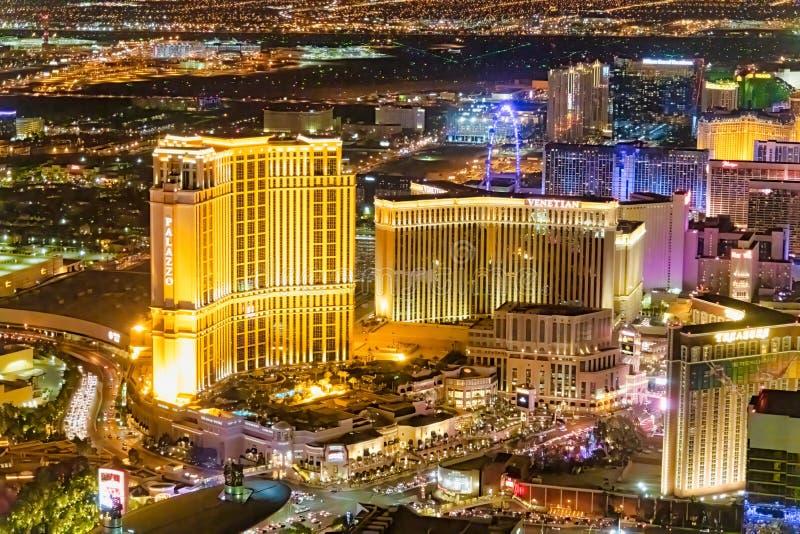LAS VEGAS, NV - 29 GIUGNO 2018: Vista aerea di notte dei casin? principali della citt? Las Vegas ? conosciuto come Sin City, citt fotografia stock libera da diritti
