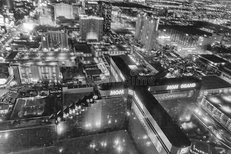 LAS VEGAS, NV - 29 GIUGNO 2018: Vista aerea di notte delle vie della citt? Las Vegas ? conosciuto come Sin City, citt? delle luci immagine stock