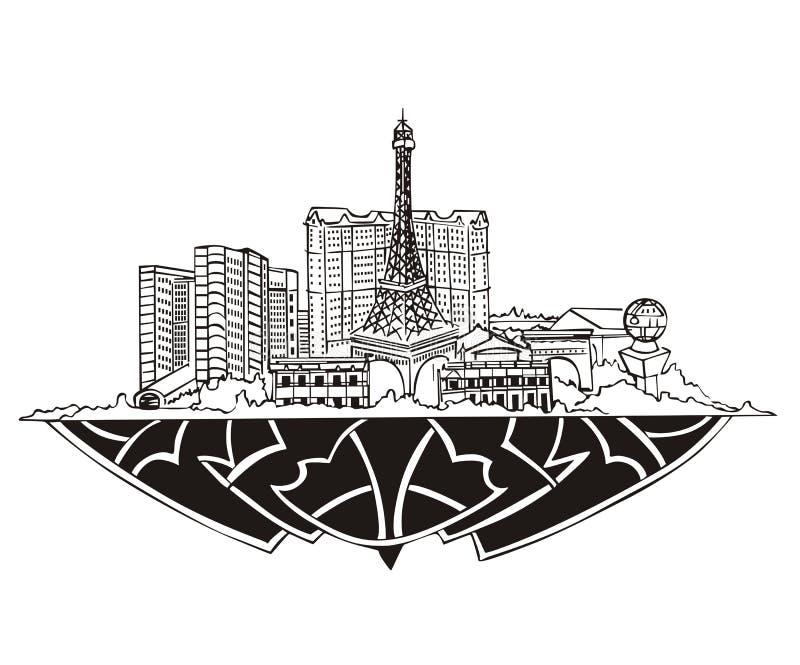 Las Vegas NV-horisont stock illustrationer