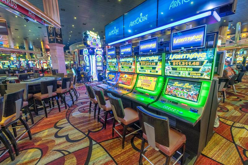 LAS VEGAS, NV - JUNE 30, 2018: Slot machines in New York New York Hotel in Las Vegas. It is one of the most luxurious hotels in L stock photos