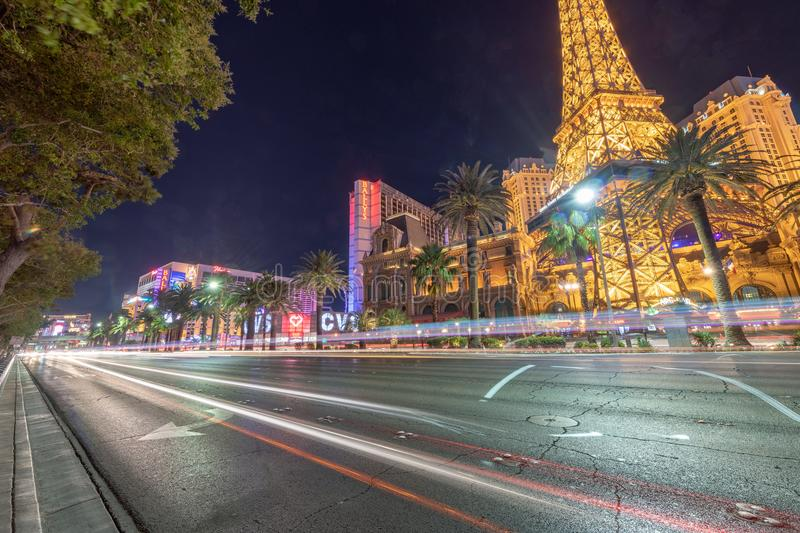 LAS VEGAS, NV - JUNE 30, 2018: Traffic on The Strip at night. Th stock photos
