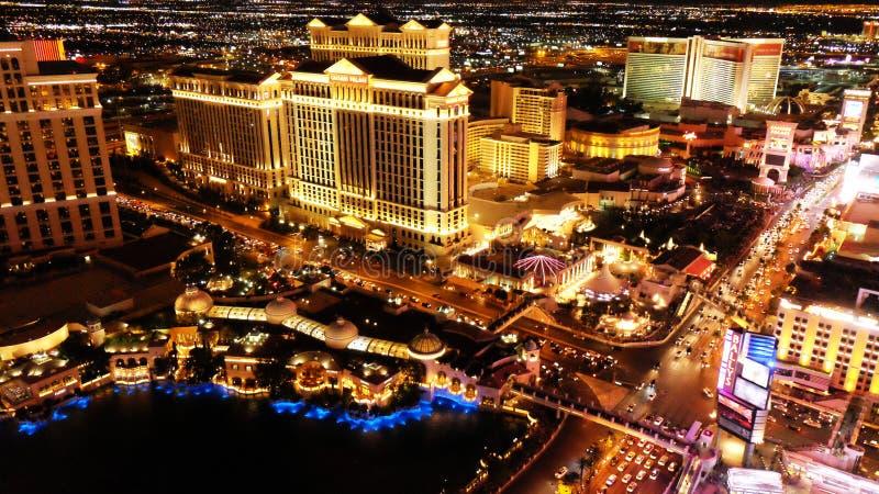 LAS VEGAS, NV - 6 JUNI: De Strook van Las Vegas in Las Vegas, Nevada zoals die bij nacht op 6 JUNI, 2015 wordt gezien royalty-vrije stock foto's
