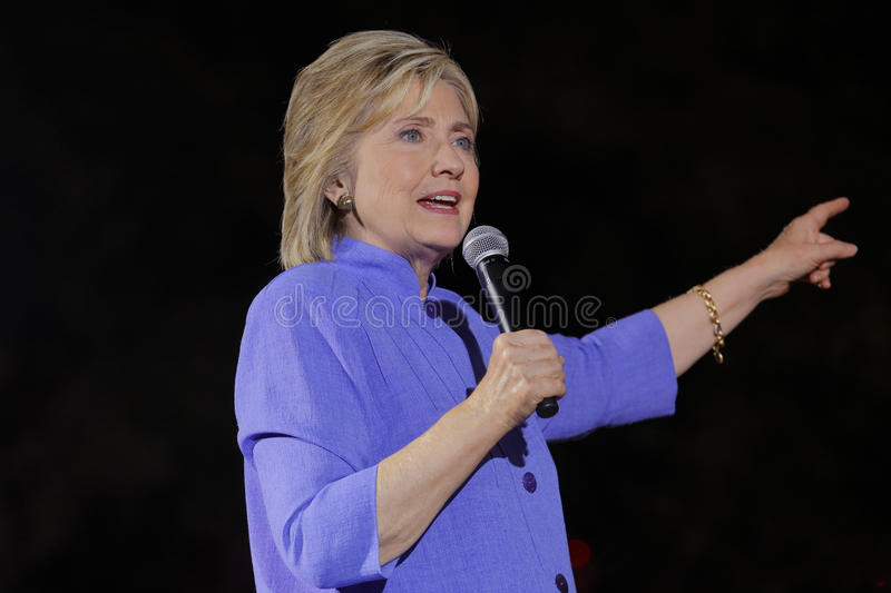 LAS VEGAS, NV - OCTOBER 14, 2015: Hillary Clinton, former U.S. secretary of state and 2016 Democratic presidential candidate, spea royalty free stock photos