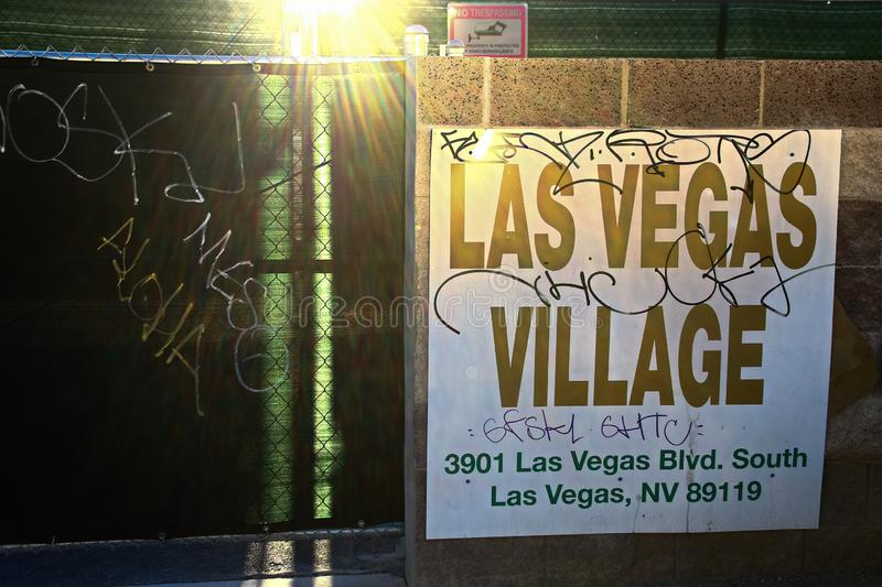 Las Vegas village. LAS VEGAS, NV - SEP 15,2018: Now in Las Vegas village one year after the Las Vegas shooting incident. Here Route 91 Harvest Country Music royalty free stock photo