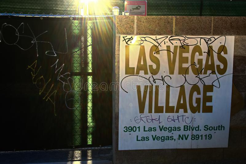 Las Vegas village. LAS VEGAS, NV - SEP 15,2018: Now in Las Vegas village one year after the Las Vegas shooting incident. Here Route 91 Harvest Country Music stock photo