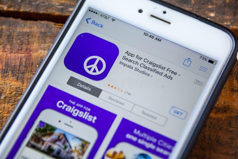 LAS VEGAS, NV - September 22. 2016 - Craigslist iPhone App In Th royalty free stock images