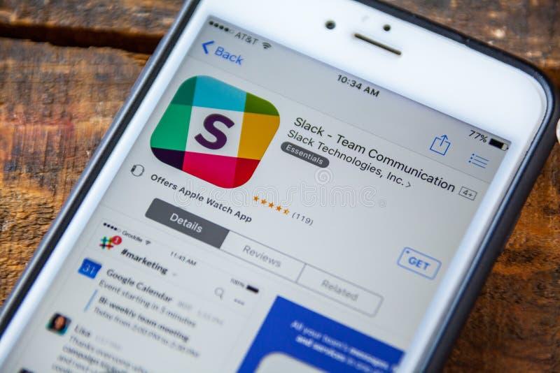 LAS VEGAS NV - September 22 2016 - Slak iPhone App i Appen royaltyfria bilder