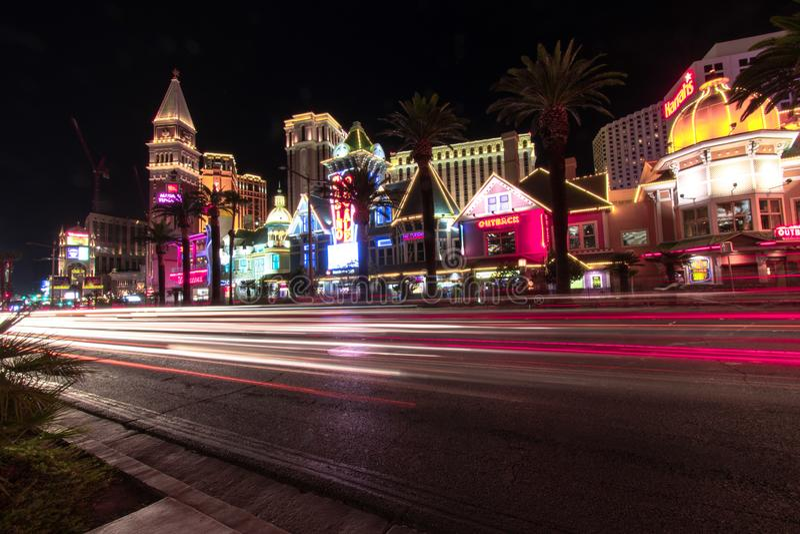 Las Vegas, NV, usa 09032018: noc widok Wenecki od i pasek w ruchu obraz stock