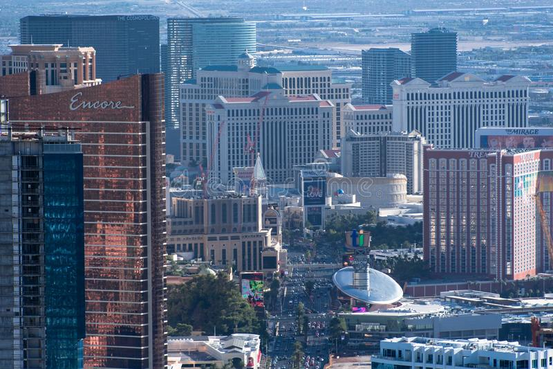 Las Vegas, NV, usa 09032018: wysoki widok th pasek od stratosfery wierza obrazy royalty free
