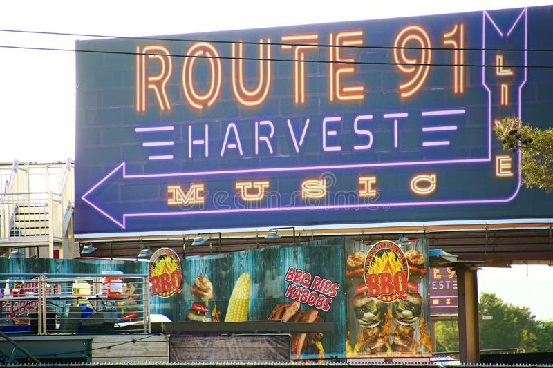 The Route 91 HARVEST Live venue after the shoot incident. LAS VEGAS - OCT 07 ,2017 : The Route 91 HARVEST Live venue after the shoot incident on the Las Vegas royalty free stock images