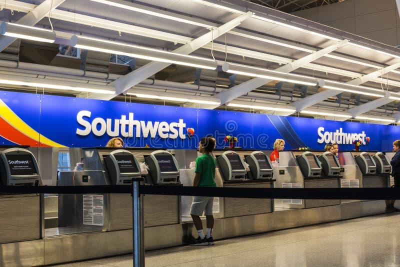 Las Vegas - Około Lipiec 2017: Southwest Airlines Biletowego biurka narządzania pasażery dla odjazdu IV zdjęcia royalty free