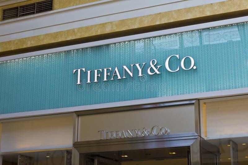 Las Vegas - Około Lipiec 2016: Tiffany & Co Detaliczna centrum handlowe lokacja Tiffany jest Luksusowym biżuterii i specjalności  fotografia royalty free