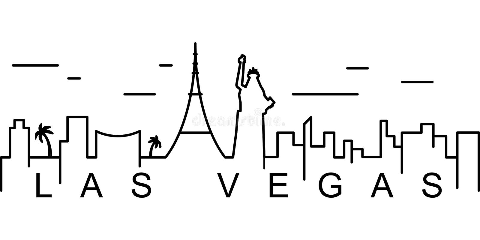 Las Vegas outline icon. Can be used for web, logo, mobile app, UI, UX stock illustration