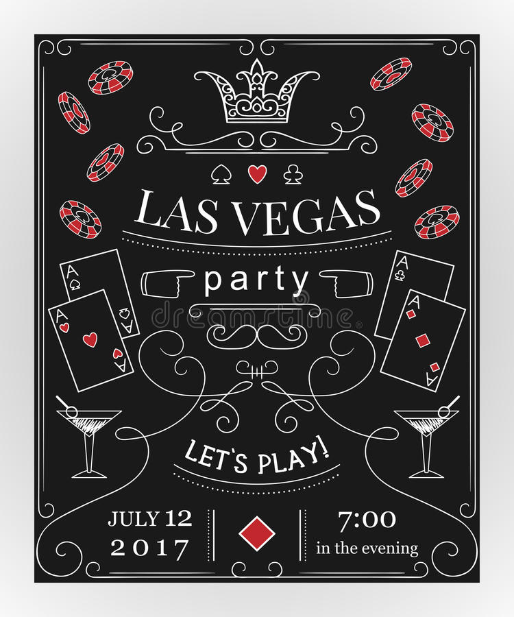 Las vegas party invitation on chalkboard with decorative elements download las vegas party invitation on chalkboard with decorative elements stock vector illustration of stopboris Images