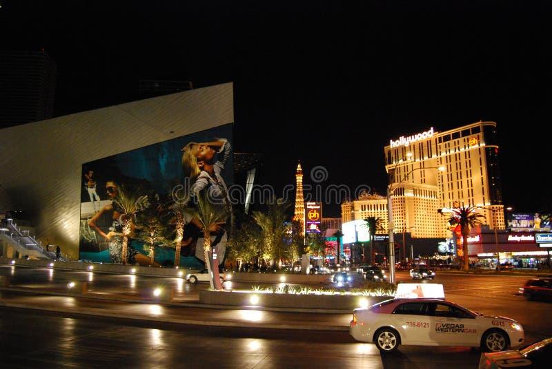 Las Vegas pasek pasek, Paryski Las Vegas, Las Vegas pasek, McCarran lotnisko międzynarodowe, Paryski hotel i kasyno, noc, fotografia stock