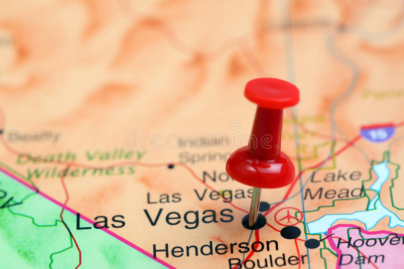 Las Vegas pinned on a map of USA stock photography