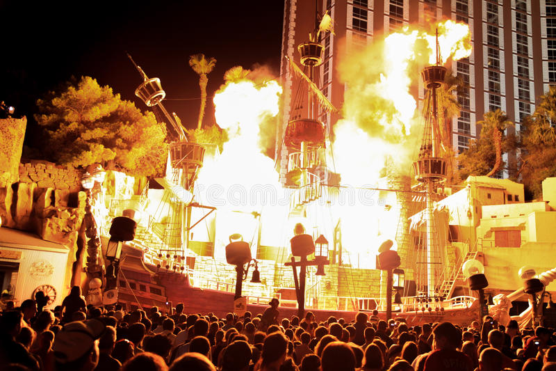 Las Vegas pirate show royalty free stock photo