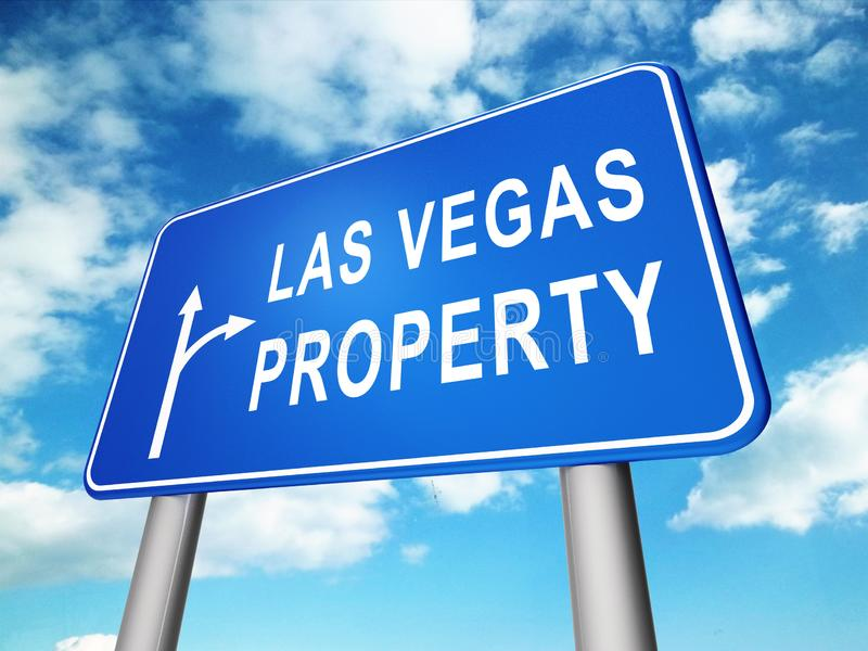 Las Vegas Real Estate Sign Depicts Houses And Homes In Nevada - 3d Illustration stock illustration