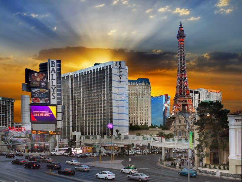 Las Vegas remsasolnedgång, Nevada arkivbilder