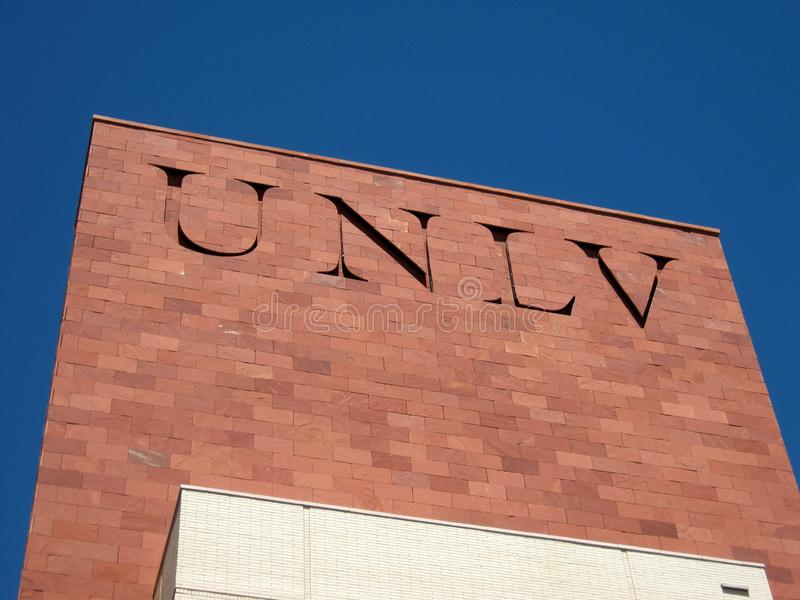 UNLV Logo on side of Red Brick building. Las Vegas -  September 5, 2011:  UNLV Logo on side of Red Brick building. The University of Nevada, Las Vegas is a stock images