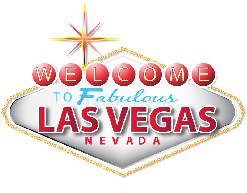 Las vegas sign. In white background