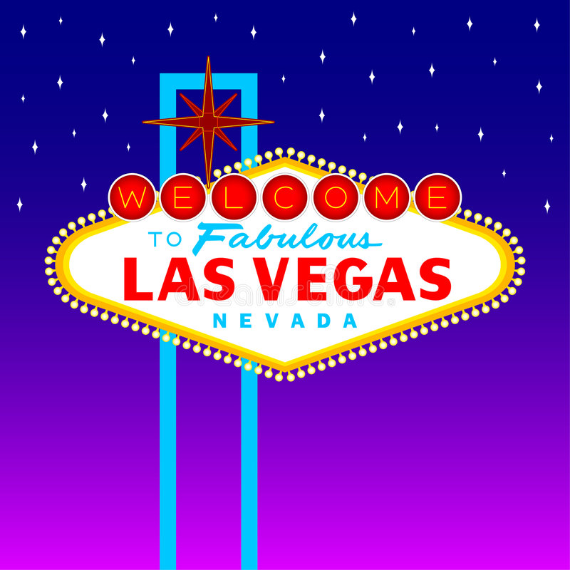 Las Vegas Sign. Welcome to Fabulous Las Vegas sign against purple night sky