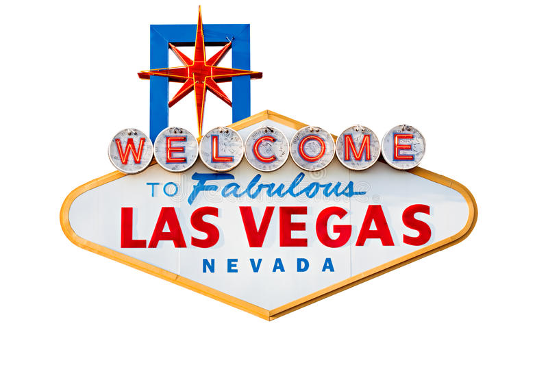 Las vegas sign isolated on white stock photography