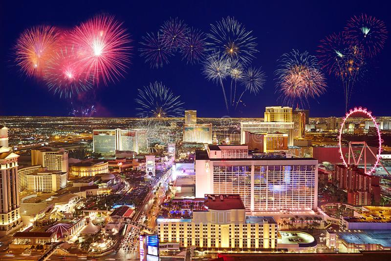 Las Vegas skyline and fireworks. Merry Christmas and happy New Year firework show over Vegas city, aerial panorama of the Strip