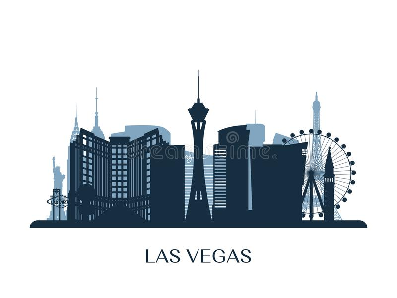 Las Vegas skyline, monochrome silhouette. stock illustration