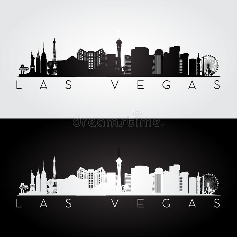 Las Vegas skyline silhouette royalty free illustration
