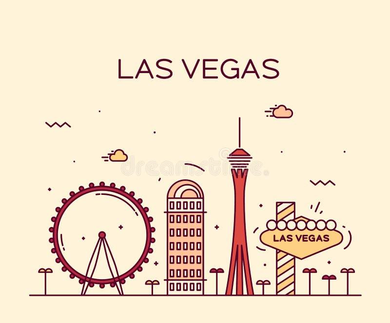 Las Vegas skyline vector illustration linear. Las Vegas skyline big city architecture vintage vector illustration stock images