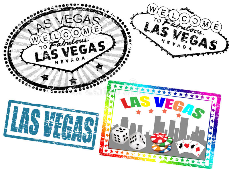 Las Vegas stamps. Set of stylized grunge stamps of the Las Vegas, illustration