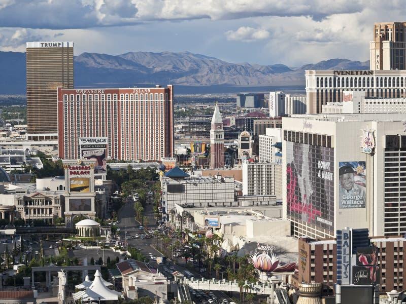 Las Vegas Storms. Las Vegas, Nevada, USA - October 6, 2011: Afternoon storms move towards Treasure Island, Trump, Flamingo and other resorts on the Las Vegas stock photography