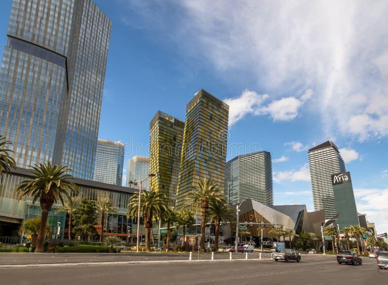 Las Vegas Strip και ξενοδοχείο και χαρτοπαικτική λέσχη της Aria - Λας Βέγκας, Νεβάδα, ΗΠΑ στοκ φωτογραφίες