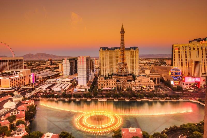 Las Vegas Strip and Bellagio fountains royalty free stock photo