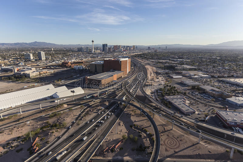 Las Vegas Strip and Interstate 15 stock photo