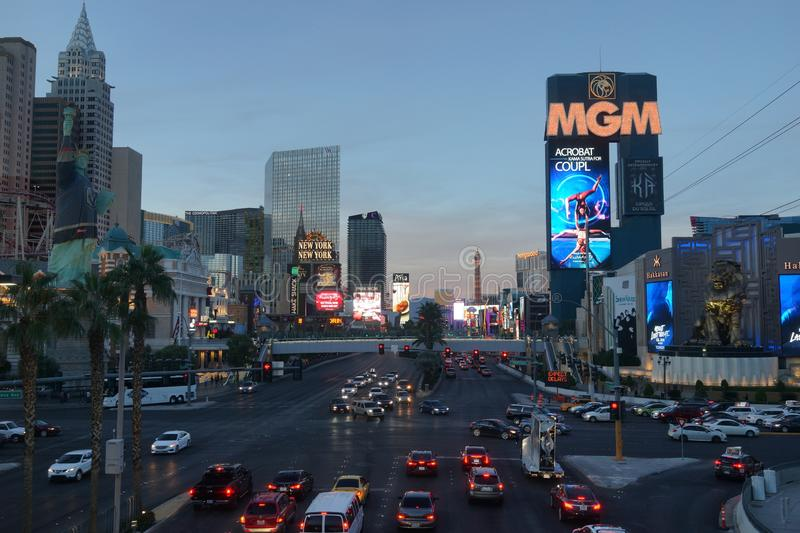 The Las Vegas Strip 8. Lined with upscale casino hotels, the neon-soaked Strip is quintessential Las Vegas. As well as gambling floors, the vast hotel complexes stock photo
