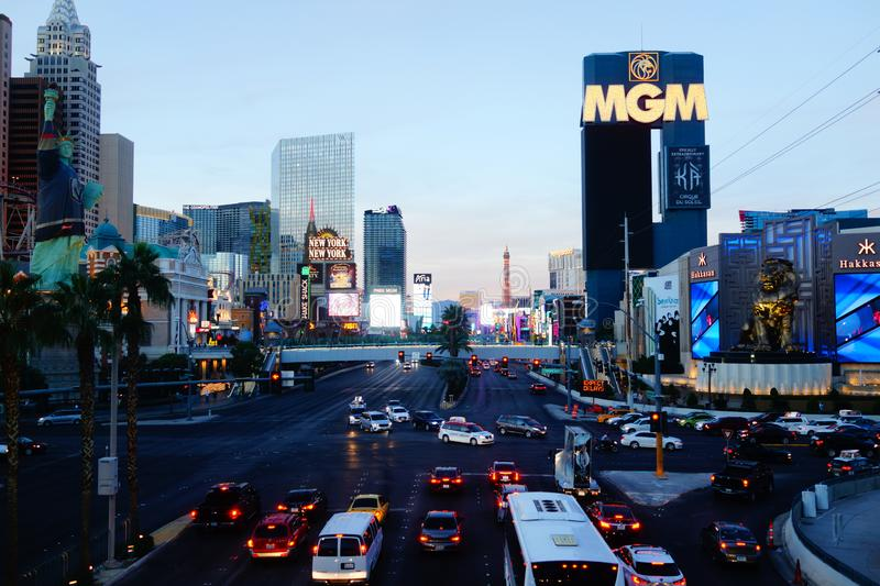 The Las Vegas Strip 7. Lined with upscale casino hotels, the neon-soaked Strip is quintessential Las Vegas. As well as gambling floors, the vast hotel complexes stock image