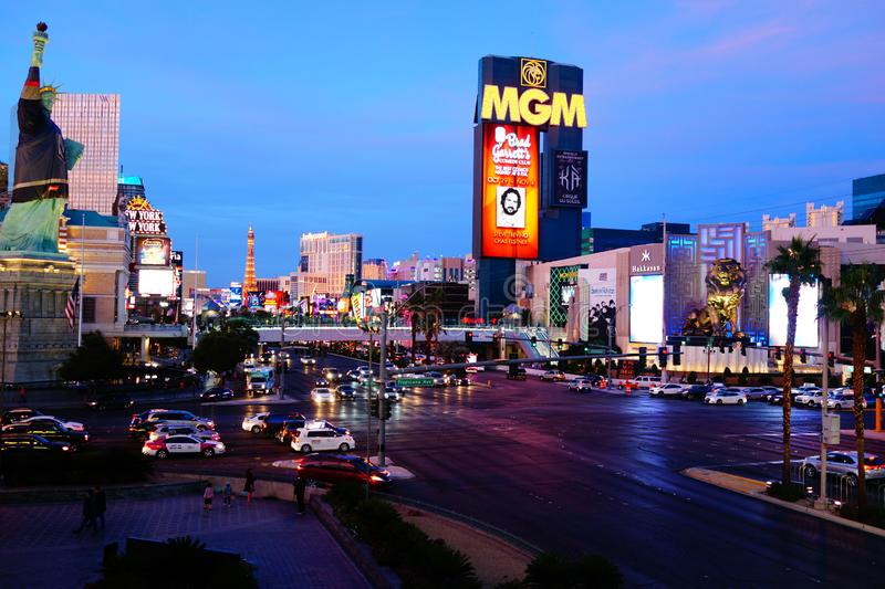 The Las Vegas Strip 4. Lined with upscale casino hotels, the neon-soaked Strip is quintessential Las Vegas. As well as gambling floors, the vast hotel complexes stock image
