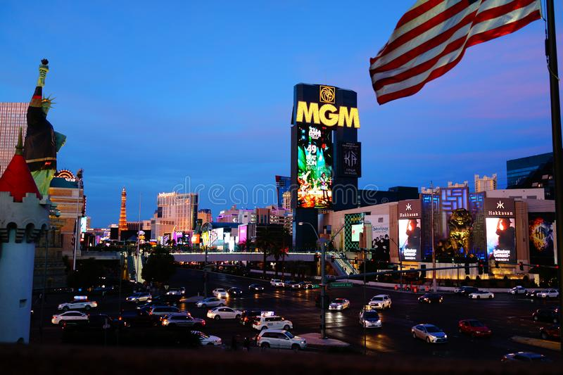 The Las Vegas Strip 5. Lined with upscale casino hotels, the neon-soaked Strip is quintessential Las Vegas. As well as gambling floors, the vast hotel complexes stock photo