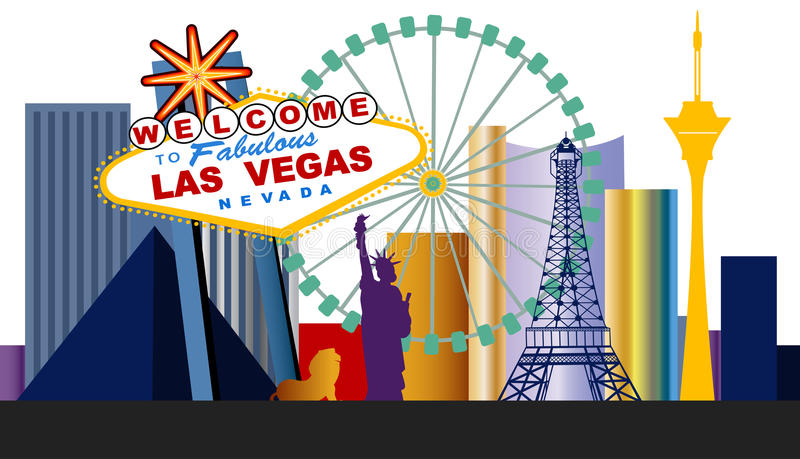 Las Vegas Strip. With updated elements and Ferris Wheel vector illustration