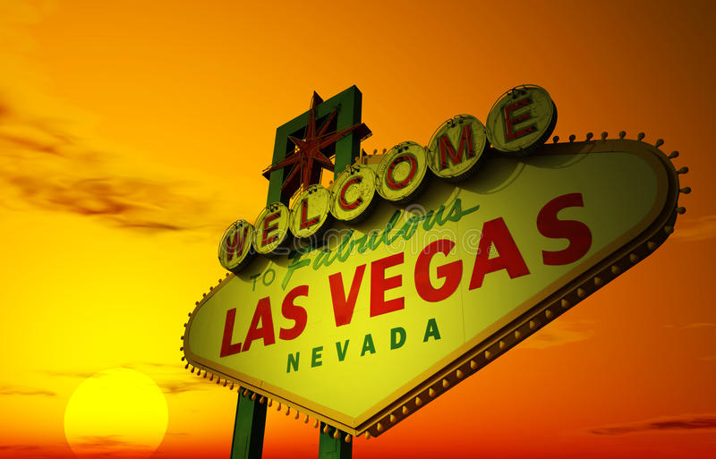 Las Vegas at Sunset. A Las Vegas sign with a beautiful sunset in the background