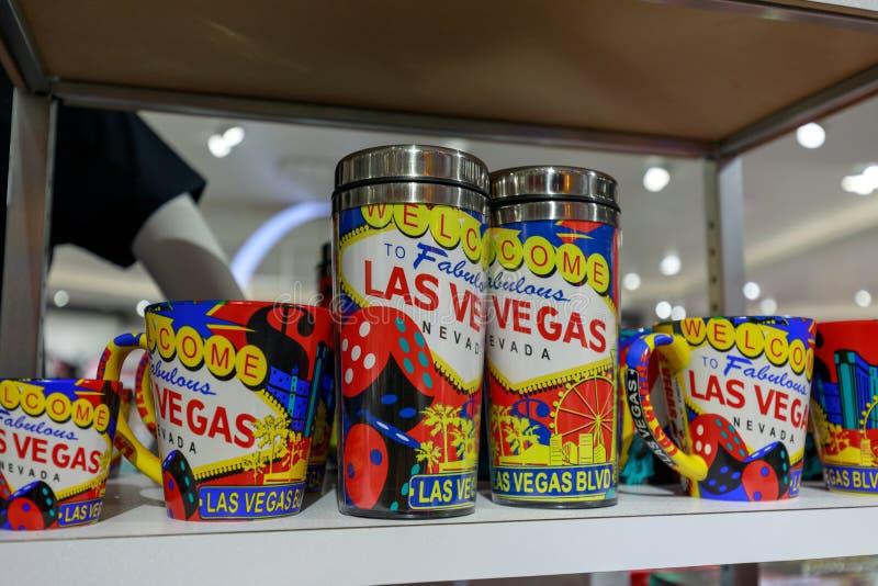 Las Vegas T-shirt at souvenir gift shop. Las Vegas, Nevada - May 27, 2018 : Las Vegas tumbler and cup at souvenir, gift shop stock image