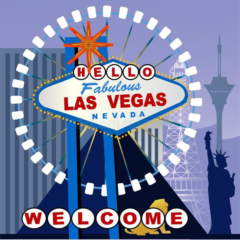 Las Vegas tecken med en vridning stock illustrationer